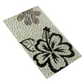 Flower 1 Crystal Bling Diamond Rhinestone Jewellery stickers for mobile phone cases covers - Black