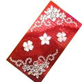 Flower 3 Crystal Bling Diamond Rhinestone Jewellery stickers for mobile phone cases covers - Red