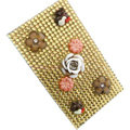Flower 3D Crystal Bling Diamond Rhinestone Jewellery stickers for mobile phone cases covers - Gold