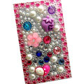 Flower 3D Crystal Bling Diamond Rhinestone Jewellery stickers for mobile phone cases covers - Pearl