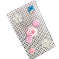 Flower 3D Crystal Bling Diamond Rhinestone Jewellery stickers for mobile phone cases covers - White