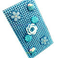 Flower 7 3D Crystal Bling Diamond Rhinestone Jewellery stickers for mobile phone cases covers - Blue