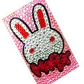Happy Rabbit Crystal Bling Diamond Rhinestone Jewellery stickers for mobile phone cases covers - Pink