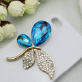 Bling Butterfly Alloy Metal Rhinestone Crystal DIY Phone Case Cover Deco Kit - Blue