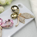 Bling Butterfly Alloy Metal Rhinestone Crystal DIY Phone Case Cover Deco Kit - Champagne