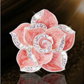 Bling Camellia Flower Alloy Rhinestone Crystal DIY Phone Cover Case Deco Kit - Pink