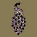 Bling Crystal Peacock Alloy Rhinestone Flatback DIY Phone Case Cover Deco Kit - Black
