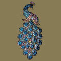 Bling Crystal Peacock Alloy Rhinestone Flatback DIY Phone Case Cover Deco Kit - Sky blue