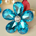 Bling Flower Alloy Rhinestone Crystal DIY Phone Case Cover Deco Kit 40mm - Blue