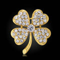 Bling Leaf Clover Alloy Rhinestone Crystal DIY Phone Case Cover Deco Kit 33*35mm - Gold