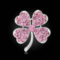 Bling Leaf Clover Alloy Rhinestone Crystal DIY Phone Case Cover Deco Kit 33*35mm - Pink