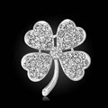 Bling Leaf Clover Alloy Rhinestone Crystal DIY Phone Case Cover Deco Kit 33*35mm - White