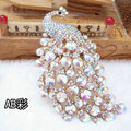 Bling Peacock Alloy Crystal Rhinestone Flatback DIY Phone Case Cover Deco Kit - AB Color