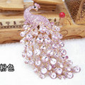 Bling Peacock Alloy Crystal Rhinestone Flatback DIY Phone Case Cover Deco Kit - Pink