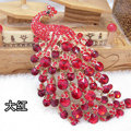 Bling Peacock Alloy Crystal Rhinestone Flatback DIY Phone Case Cover Deco Kit - Red