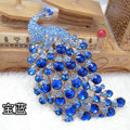 Bling Peacock Alloy Crystal Rhinestone Flatback DIY Phone Case Cover Deco Kit - Sapphire blue