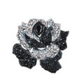 Bling Rose Flower Alloy Rhinestone Crystal DIY Phone Case Cover Deco Kit 75*80mm - Black