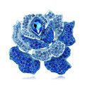 Bling Rose Flower Alloy Rhinestone Crystal DIY Phone Case Cover Deco Kit 75*80mm - Blue