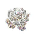 Bling Rose Flower Alloy Rhinestone Crystal DIY Phone Case Cover Deco Kit 75*80mm - White