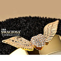 Bling Angel wing Alloy Rhinestone Crystal DIY Phone Case Cover Deco Kit 75*25mm - Gold