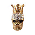 Bling Crown Skull Alloy Crystal Rhinestone DIY Phone Case Cover Deco Kit 51*31mm - Gold
