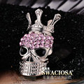 Bling Crown Skull Alloy Crystal Rhinestone DIY Phone Case Cover Deco Kit 51*31mm - Pink