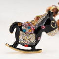 Bling Horse Alloy Rhinestone Crystal DIY Phone Case Cover Deco Kit 48*45mm - Black