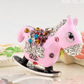 Bling Horse Alloy Rhinestone Crystal DIY Phone Case Cover Deco Kit 48*45mm - Pink