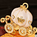Bling Pumpkin car Alloy Rhinestone Crystal DIY Phone Case Cover Deco Kit 55*45mm - Gold