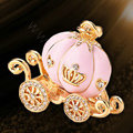 Bling Pumpkin car Alloy Rhinestone Crystal DIY Phone Case Cover Deco Kit 55*45mm - Pink