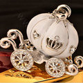 Bling Pumpkin car Alloy Rhinestone Crystal DIY Phone Case Cover Deco Kit 55*45mm - White