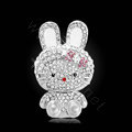 Bling Rabbit Alloy Crystal Rhinestone DIY Phone Case Cover Deco Kit 63*40mm - White