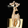 Bling Sika deer Alloy Crystal Rhinestone DIY Phone Case Cover Deco Kit 28*65mm - Gold