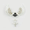 Bling Angel wings Alloy Crystal Rhinestone DIY Phone Case Cover Deco Den Kit 44*31mm - Silver
