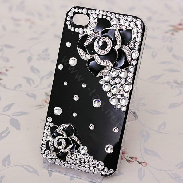 Buy Wholesale Bling Crystal Black Alloy Flower Camellia
