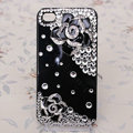 Bling Crystal Black alloy Flower Camellia DIY Cell Phone Case shell Cover Deco Den Kit
