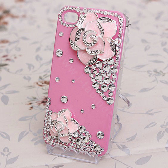 Wholesale Bling Crystal Pink alloy Flower Camellia DIY Cell Phone Case ...