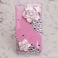 Bling Crystal Pink alloy Flower Camellia DIY Cell Phone Case shell Cover Deco Den Kit