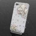 Bling Crystal White alloy Flower Camellia DIY Cell Phone Case shell Cover Deco Den Kit