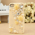 Bling Crystal Yellow resin Flower DIY Cell Phone Case shell Cover Deco Den Kit