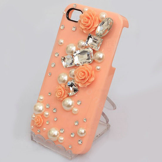 Buy Wholesale Bling Crystal orange resin Flower DIY Cell Phone Case ...
