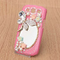 Butterfly Bling Crystal Case mirror pearl Cover for Samsung Galaxy SIII S3 I9300 I9308 I939 I535 - Pink