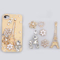 Eiffel Tower Bling Crystal Flower DIY Cell Phone Case shell Cover Deco Kit