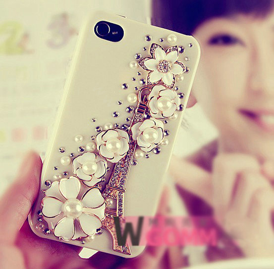 Buy wholesale eiffel tower bling crystal flowers diy cell for Diy mobile phone case