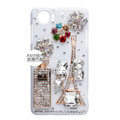 Eiffel Tower bottle Bling Crystal Case Rhinestone Cover shell for OPPO finder X907 - White