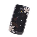 Flower Bling Crystal Case Rhinestone Cover for Samsung i9250 GALAXY Nexus Prime i515 - Black