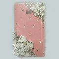 Flower Bling Crystal Case Rhinestone Cover shell for LG E400 Optimus L3 - Pink