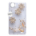Flowers Bling Crystal Case Rhinestone Cover shell for OPPO finder X907 - Gold