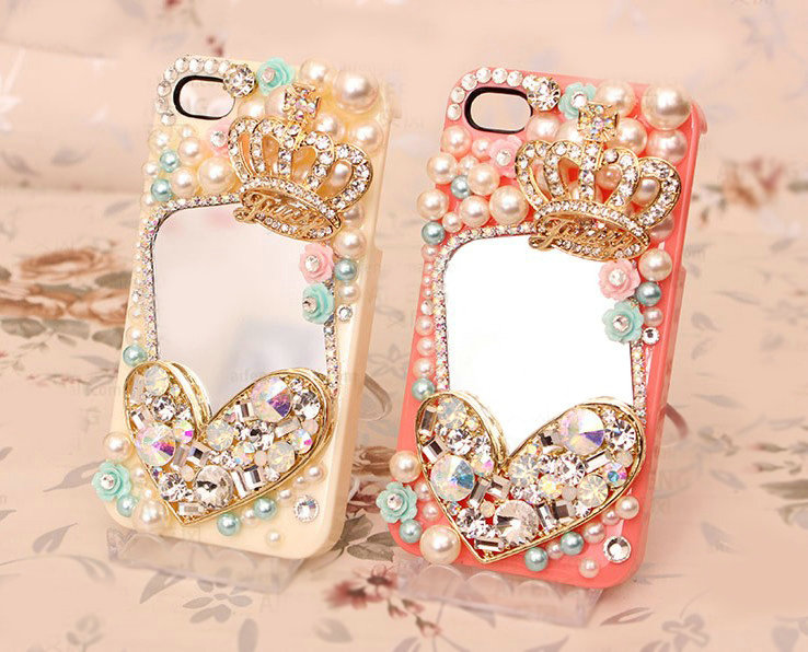 Buy Wholesale Heart Crown Alloy Bling Mirror Crystal DIY Cell Phone Case shell Cover Deco Den ...