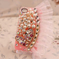 Heart lace Bling Crystal Case pearl Cover shell for iPhone 4G 4S - Pink